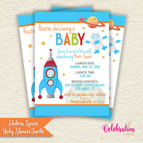 Modern Outer Space Baby Shower Invitation