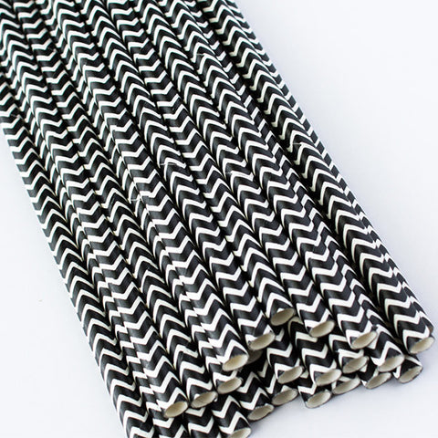 Chevron Paper Straws - Black