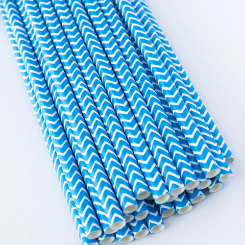 Chevron Paper Straws - Blue