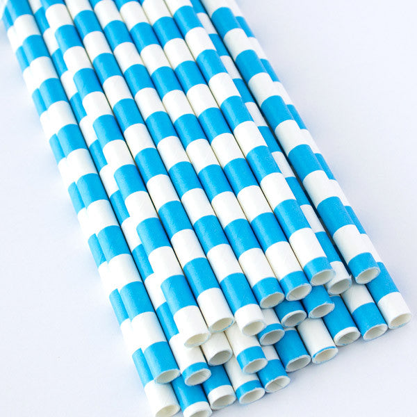 Rugby Stripe Paper Straws - Blue