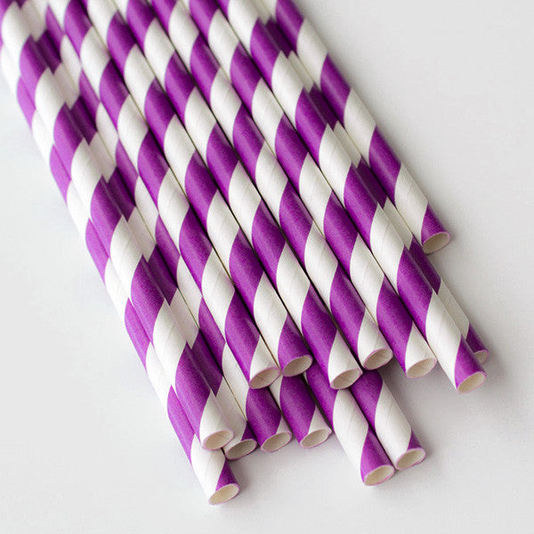Striped Paper Straws - Bright Purple