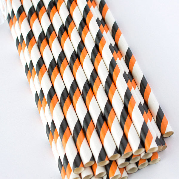 Double Striped Paper Straws - Orange & Black