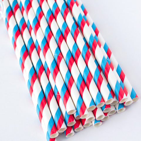 Double Striped Paper Straws - Red & Blue
