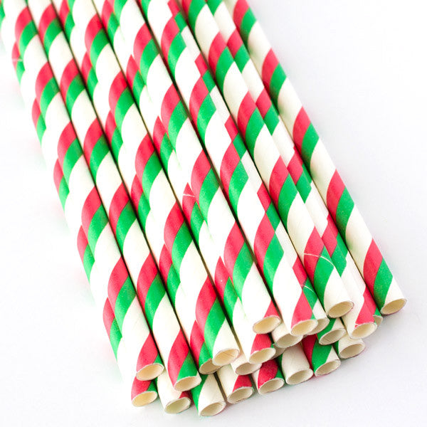 Double Striped Paper Straws - Red & Green