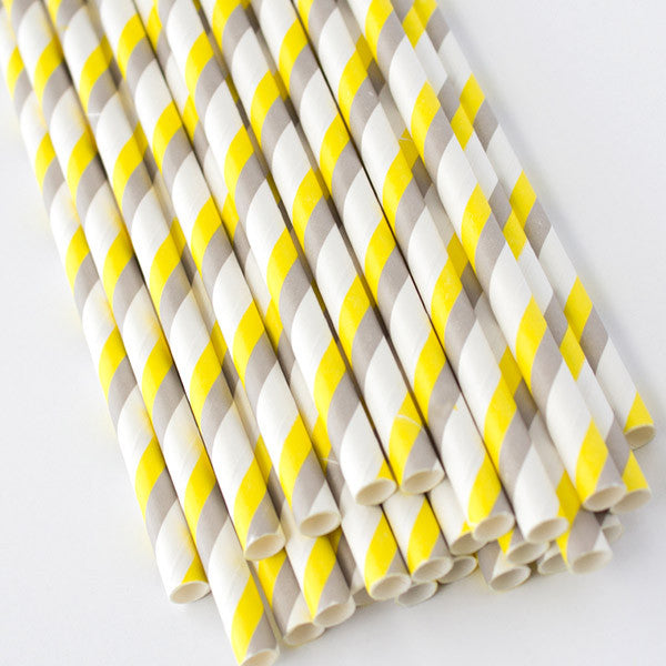 Double Striped Paper Straws - Yellow & Gray