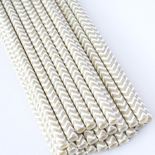 Chevron Paper Straws - Gray