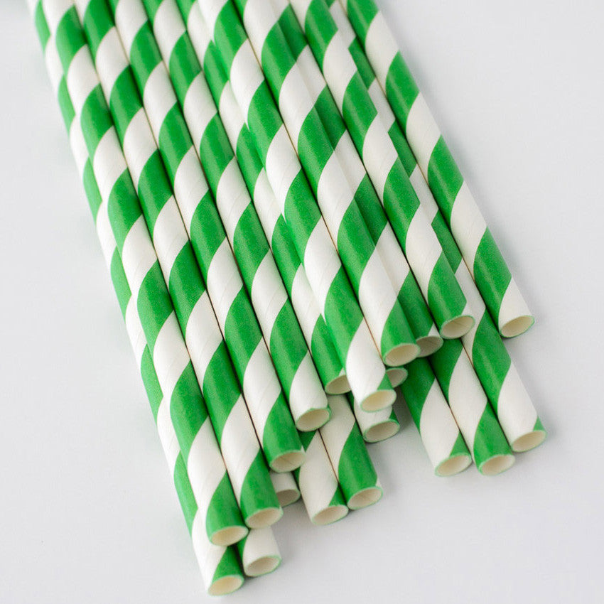 Striped Paper Straws - Green