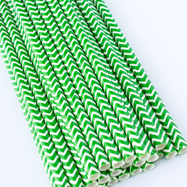 Chevron Paper Straws - Green