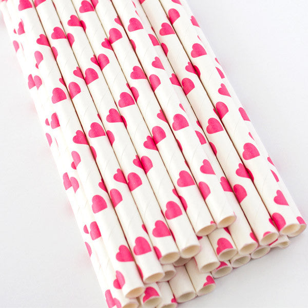 Heart Print Paper Straws - Hot Pink