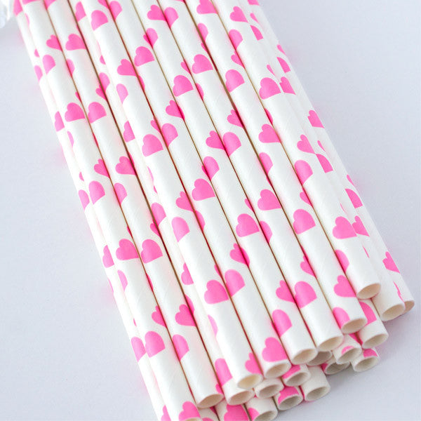 Heart Print Paper Straws - Pink