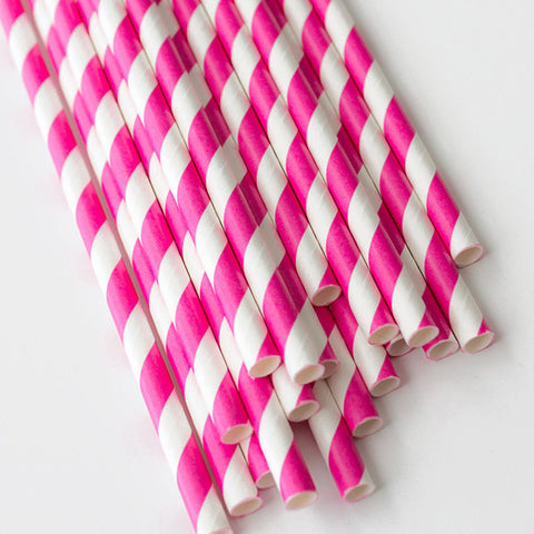Striped Paper Straws - Hot Pink