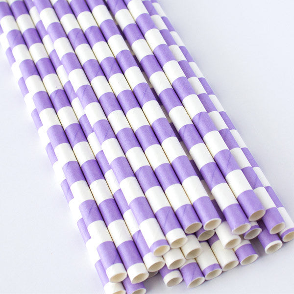 Rugby Stripe Paper Straws - Lilac