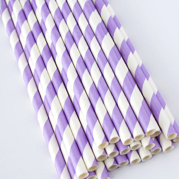 Striped Paper Straws - Lilac