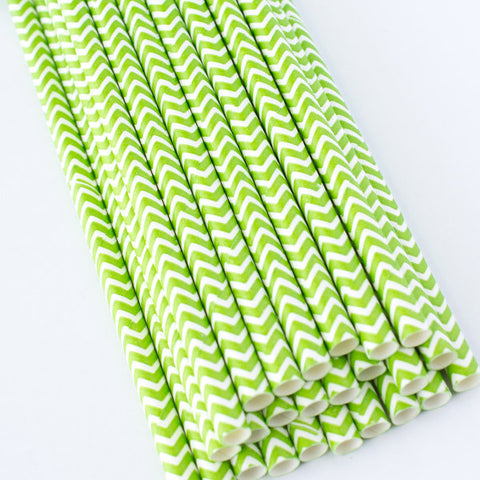 Chevron Paper Straws - Lime Green
