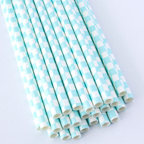 Checkered Paper Straws - Light Blue