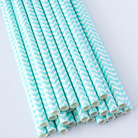 Chevron Paper Straws - Light Blue