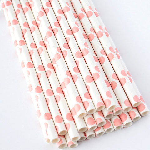 Polka Dot Paper Straws - Light Pink