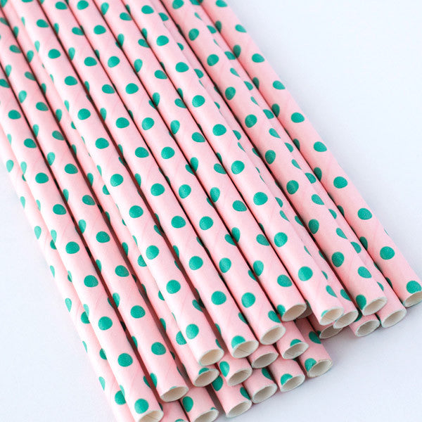Light Pink with Green Swiss Dot Paper Straws