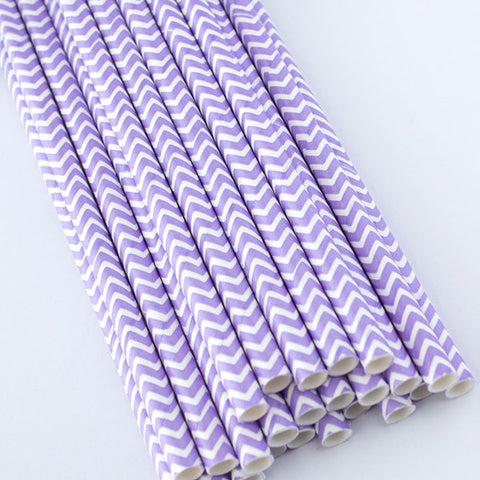 Chevron Paper Straws - Light Purple