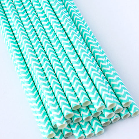 Chevron Paper Straws - Light Sea Foam Green