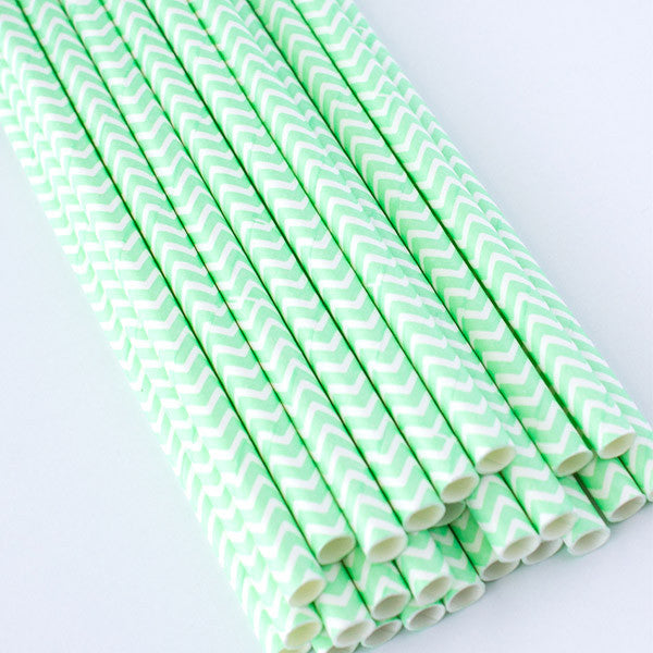 Chevron Paper Straws - Mint Green