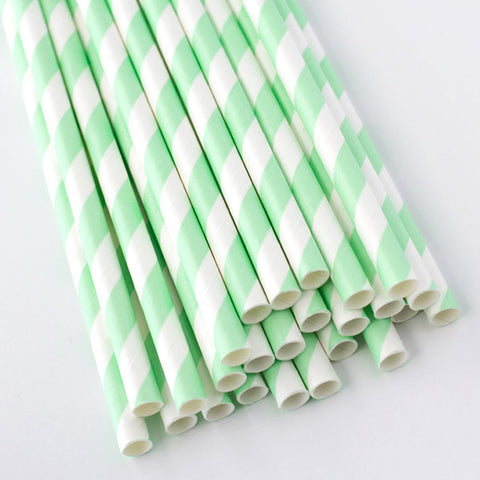 Striped Paper Straws - Mint Green