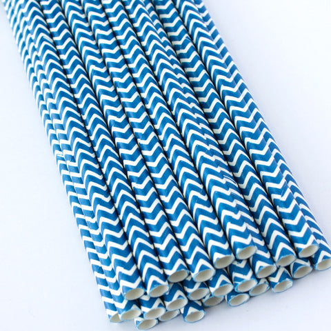 Chevron Paper Straws - Navy Blue