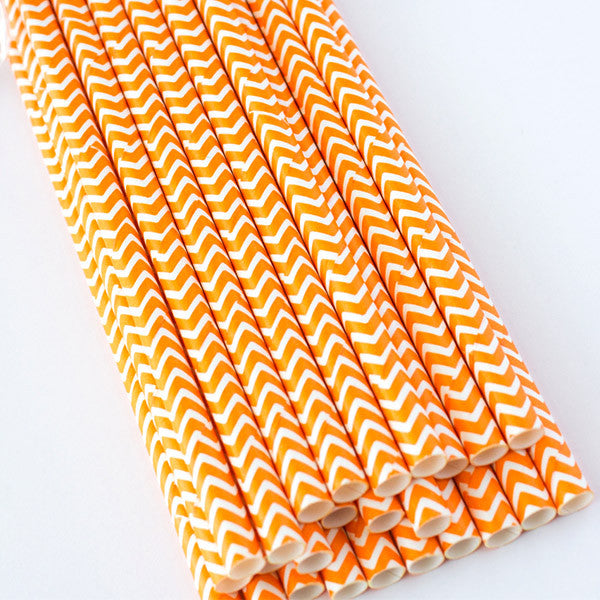 Chevron Paper Straws - Orange