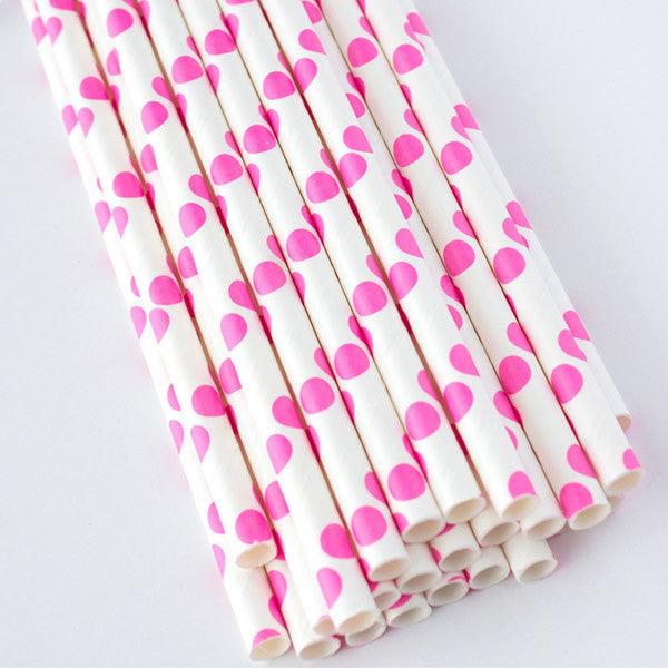 Polka Dot Paper Straws - Pink (CLEARANCE)
