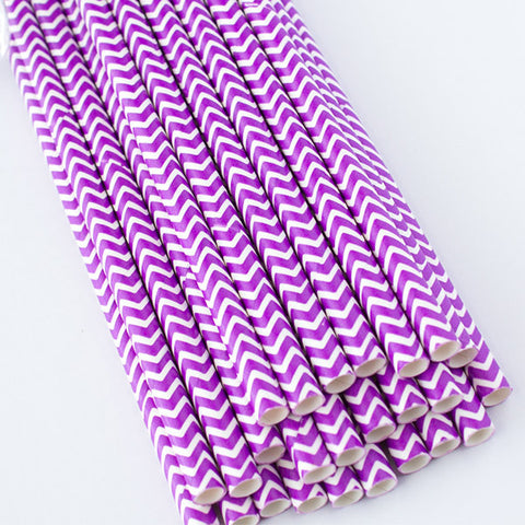 Chevron Paper Straws - Purple