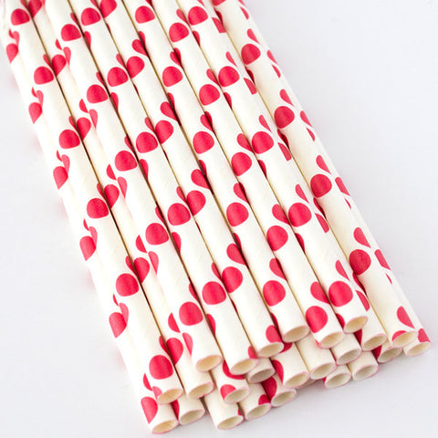 Polka Dot Paper Straws - Red