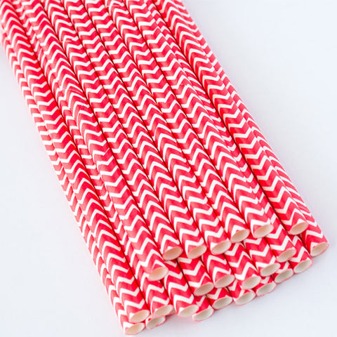 Chevron Paper Straws - Red