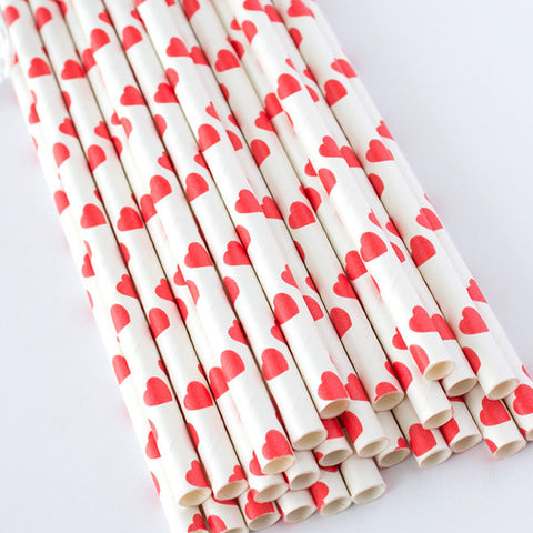 Heart Print Paper Straws - Red