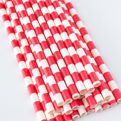 Rugby Stripe Paper Straws - Red