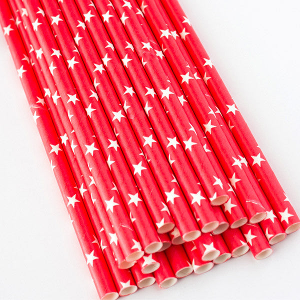 Red Star Print Paper Straws