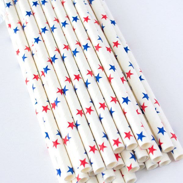 Star Print Paper Straws - Red & Blue