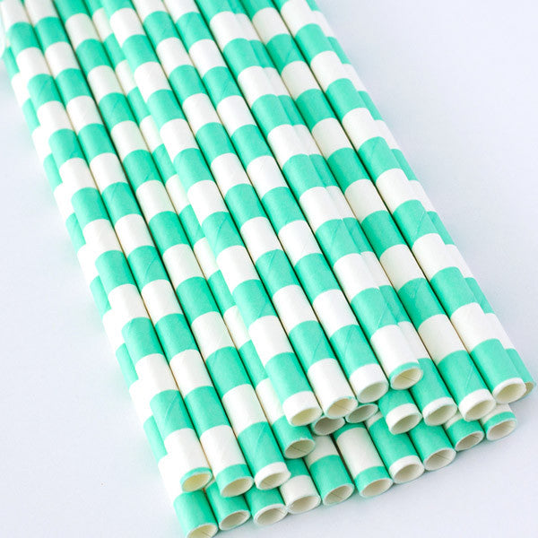 Rugby Stripe Paper Straws - Sea Foam Green