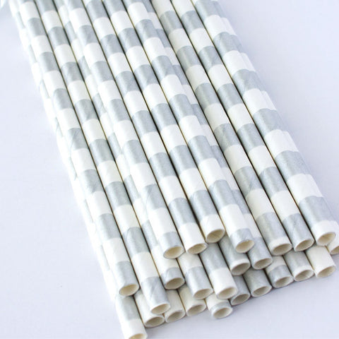 Rugby Stripe Paper Straws - Silver