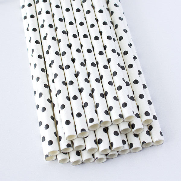 Swiss Dot Paper Straws - White