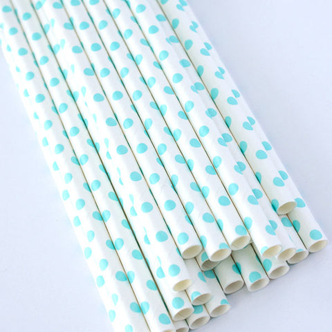 White Swiss Dot Paper Straws - Light Blue Dot