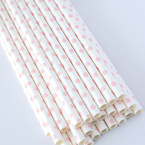 White Swiss Dot Paper Straws - Light Pink Dot