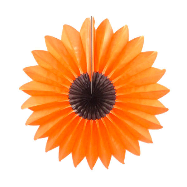 Tissue Fan 18 in - Orange Flower