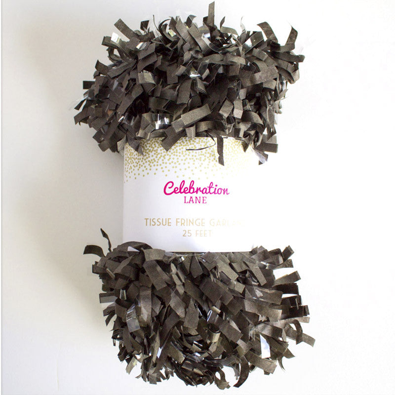 Tissue Fringe Garland 25 ft - Black