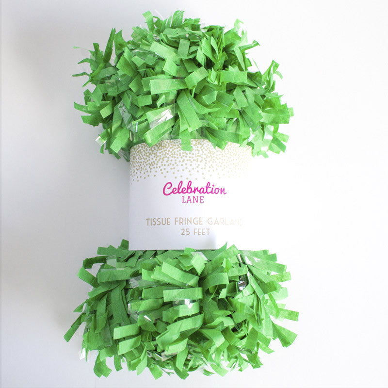 Tissue Fringe Garland 25 ft - Green
