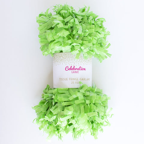 Tissue Fringe Garland 25 ft - Lime Green