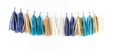 Tissue Tassel Garland Kit - Indigo (Navy Blue, Colonial Blue, Oatmeal, Metallic Gold)