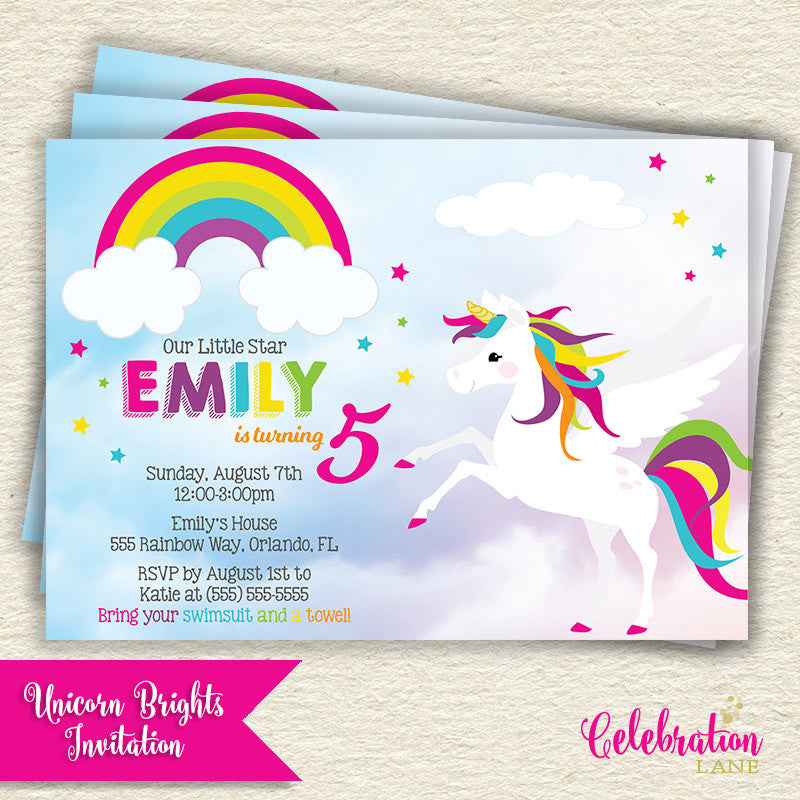 Rainbow Unicorn Birthday Party Invitation in bright colors