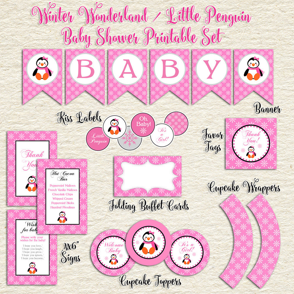 Pink Penguin Winter Baby Shower Printable Set