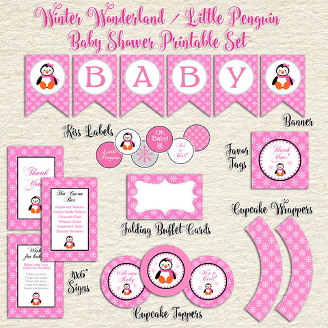Pink Penguin Winter Baby Shower Set
