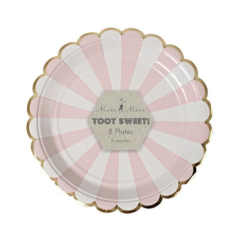 Dusty Rose Striped Dessert Plates